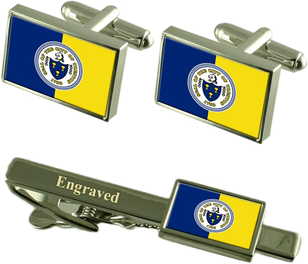 Trenton City USA Flag Cufflinks Engraved Tie Clip Set