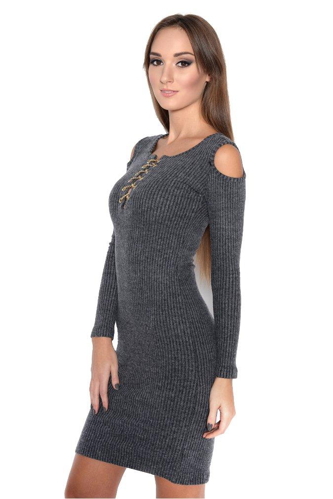 Kleid Strick Langarm Mini-Kleid Schulterfrei, Gr. XS S M L 3323-1:  Amazon.de: Bekleidung