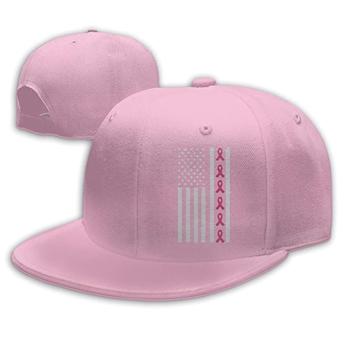 b215066a7610a YPDN MA Mens and Womens Adjustable Pink Ribbon Flag Breast Cancer Awareness  Mesh Back Trucker