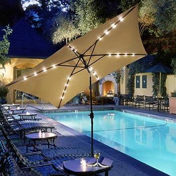GC Global Direct Rectangular Outdoor Umbrella With Solar LED Lights 10u0027 X  6.5u0027 (