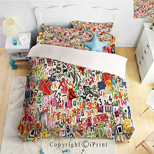 (Homenon Hight Quality 4 Piece Bed Sheet Set,Various Kinds of Newpaper Magazine Letters Cutouts Alphabet Collection Decorative,Multicolor,King Size)