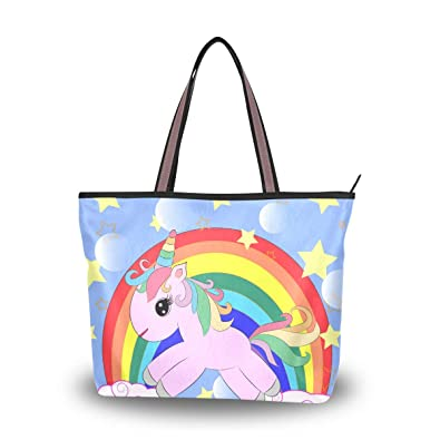 5981a8f82eb2 Amazon.com: Women Tote Top Handle Shoulder Bags Pink Unicorn On A ...