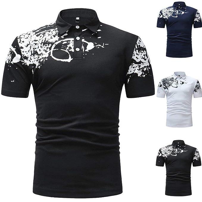 POLP Polo Estampado Cuadros Polos de Golf Hombre Camisas Casual ...