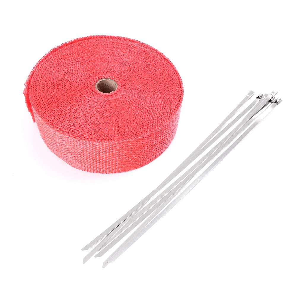 Mallofusa 2' x 50'/15M Red Exhaust Heat Wrap Roll for Motorcycle Fiberglass Heat Shield Tape with 5 Stainless Zip Ties 2070MU001