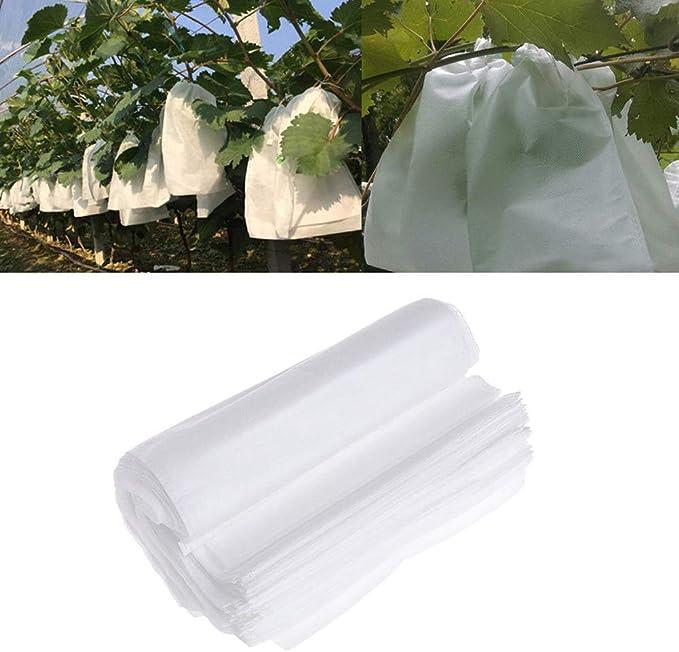 Fydun Produire des sacs lavables r/éutilisables 50pcs sacs de protection des fruits des plantes cordon sac de maillage contre les insectes ravageurs outils de jardin 25 * 15cm