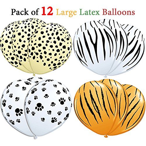 Jungle Animals Foil Latex Balloons Birthday Party Decorations Lion Tiger Monkey Zebra Giraffe Cow SAFARI ZOO Cupcake Toppers Pack of 34 by SAKIBO (Image #2)