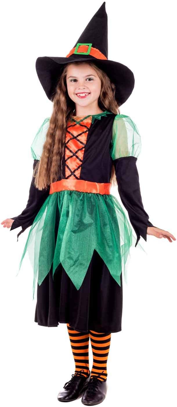 Large fun shack Kids Witch Costume Girls Green /& Orange Scary Halloween Dress Outfit