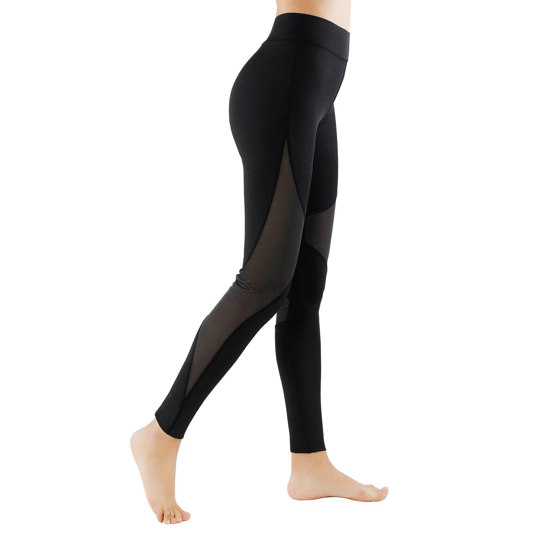 GoVIA Lot de 2 Legging pour Femme Pantalon de Course /à Pied avec empi/ècements en Mesh Fitness Yoga Pantalon de Sport Taille Haute Tissu Maille Respirant