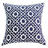 SLOW COW Cotton Embroidery Decorative Throw Pillow Cover Navy Chain Design Pattern Cushion Cover, 18x18 Inch.