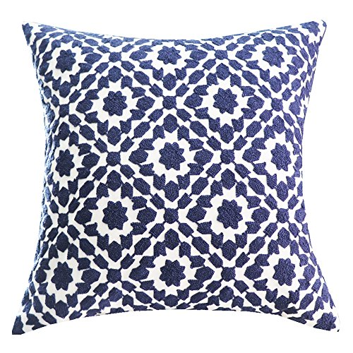 SLOW COW Cotton Embroidery Decorative Throw Pillow Cover Navy Chain Design Pattern Cushion Cover 18x18 Inch