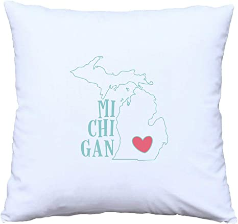 Amazon Com Namska Love State Of Michigan Throw Pillow Cover And Pillow Insert Home Kitchen