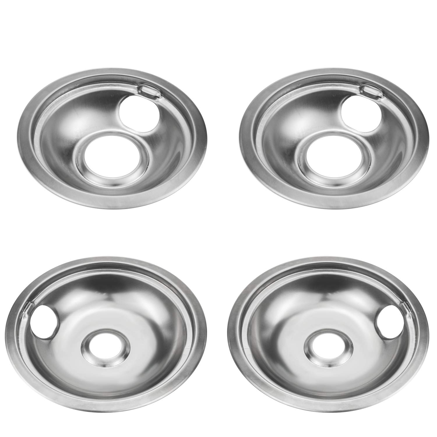Bestong 4-pack Gas Stove Burner Covers Stove Drip Pans Replacement for Whirlpool W10278125 Stainless Steel Reflector Bowls