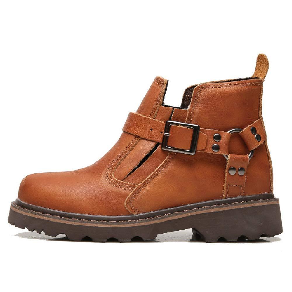 WANG-LONG Schuhe Herren Stiefel Martin Outdoor Plus Samt Warme Werkzeug Militär Leder Herbst Und Winter Rutschfeste Mode,rotdish-braun-40