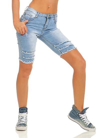 Fashion4Young 11516 Damen Jeans Bermuda Hose Röhre Denim Shorts Hotpants Fransen Perlen Slimline Slim Fit