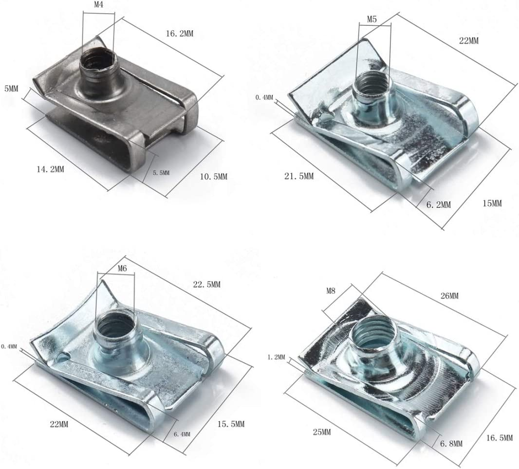 Conjunto de tuercas y tornillos Clips B Kit de tuercas Spire zinc velocidad Fasteners tuercas del terminal 100 PCS