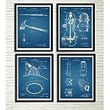 Firefighter Patent Art Prints Blue Prints Set Fireman Gifts Fireman Axe Firefighter Helmet Hydrant Fire Truck Wall Decor Home Decor Wall Hanging