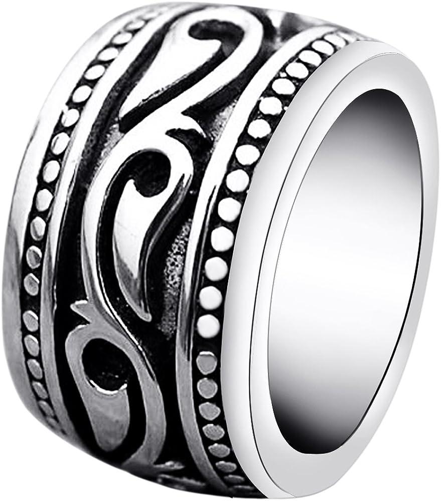 enhong Stainless Steel Rings for Men Vintage Biker Wide Band Ring Size 7 8 9 10 11 12 13 14 15