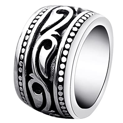 enhong Mens Rings Heavy Wide Vintage Stainless Steel Ring Black
