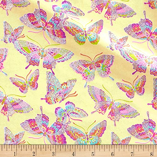 Fabric Traditions Pizzaz Flannel Glitter Butterflies Yellow Yard