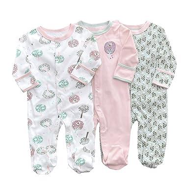 LOSORN ZPY Baby Girl Printing Pajamas Footed Sleeper Long Sleeve Cotton Pjs  (Newborn-24 ab90a24cf