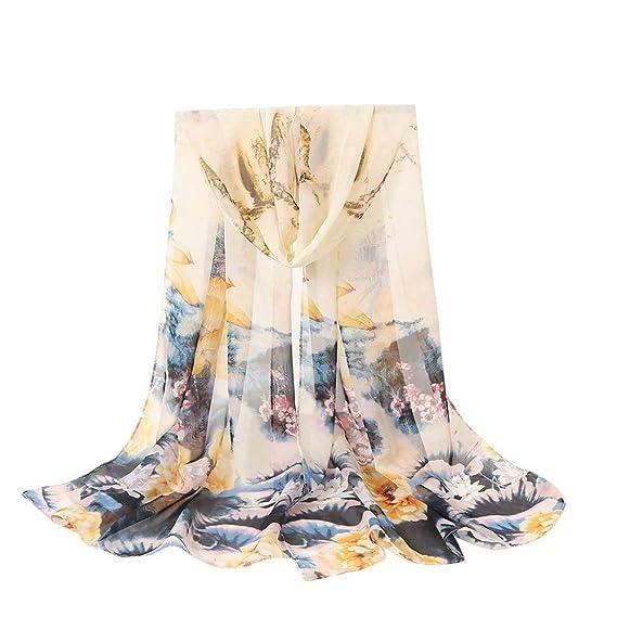 ALIKEEY Moda Mujer Flores Impresión Larga Suave Envoltura Bufanda Chal Bufanda Papel Desechable AñOs Amarillo Oido Gorros Desechables: Amazon.es: Ropa y ...