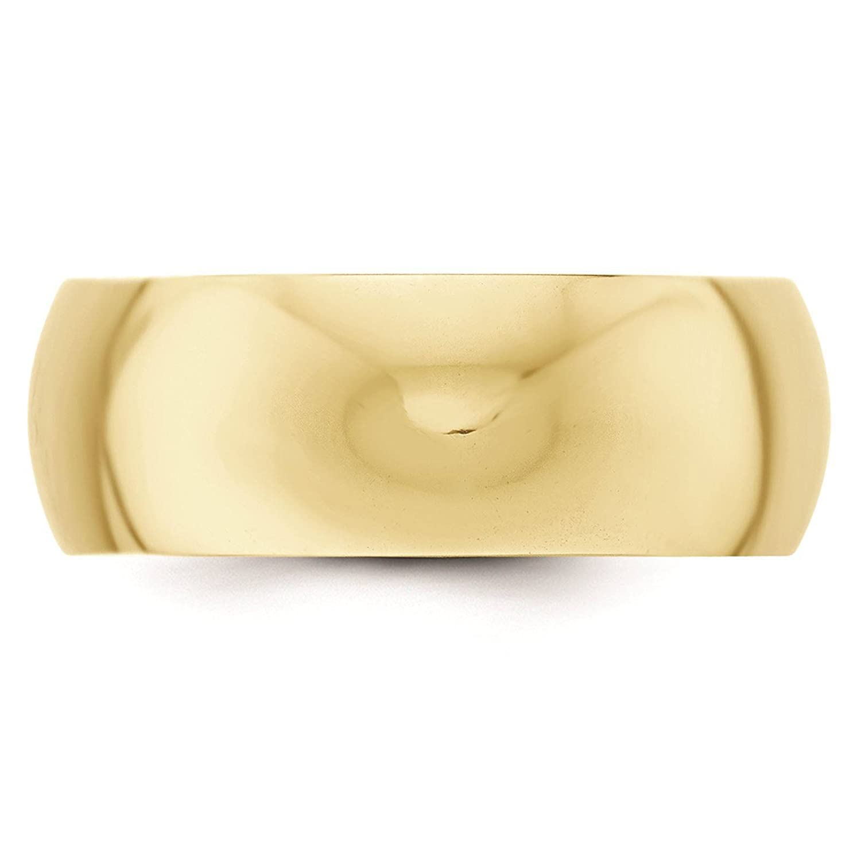 10k Yellow Gold 8mm Half Round Wedding Ring Band Size 4-14 Full /& Half Sizes