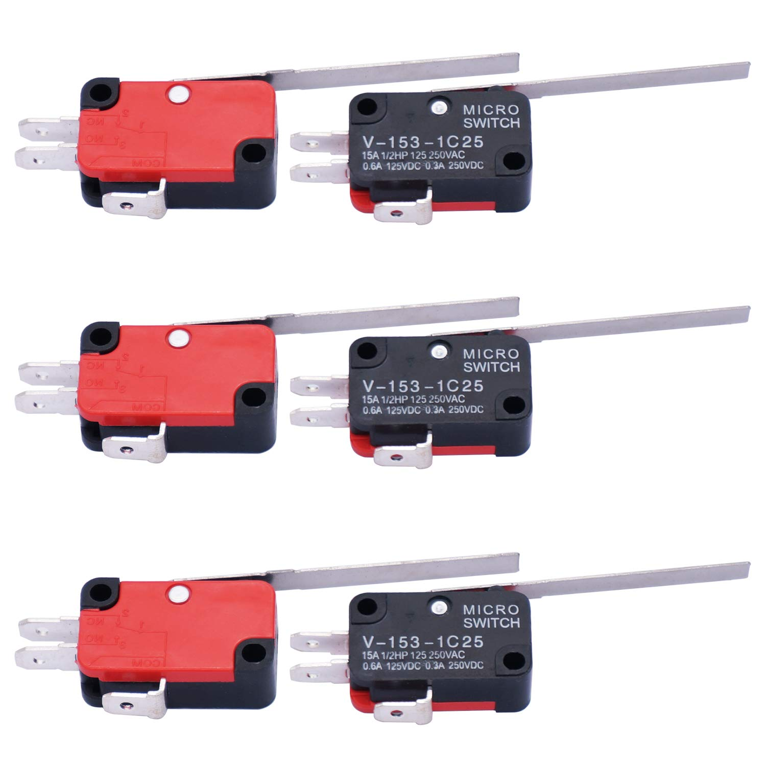 10Pcs V-153-1C25 Long Straight Hinge Lever AC DC Micro Limit Switchs Type SPDT