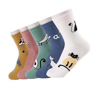 Calcetines de Algodón de Mujers - Bakicey calcetines térmicos Adulto Unisex Calcetines (Gato Fresco)