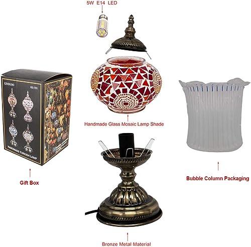 Kindgoo Turkish Moroccan Lamp Mosaic Table Lamp Handmade Multicolored