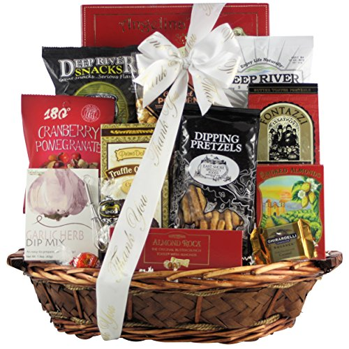 GreatArrivals Snack Attack Thank You Snack Basket, Medium, 4 Pound 8' Whisk