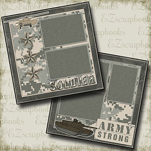 ARMY STRONG - Premade Scrapbook Pages - EZ Layout 735