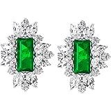 0.72 Ct Baguette Shape Lab Created Emerald Earring, 1 Ct SGL Certified Pear Shape Diamond Earring, IJ-SI Color Clarity Diamon