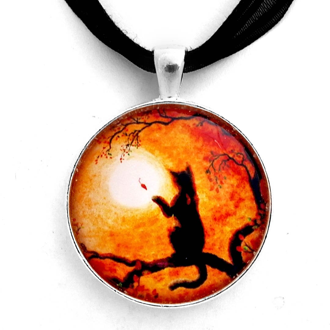 Laura Milnor Iverson Black Cat Playing on Halloween Afternoon Handmade Art Pendant (Black Ribbon Necklace)