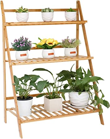 Amazon Com Bamboo Foldable Plant Stand 3 Tier Ladder Displaying