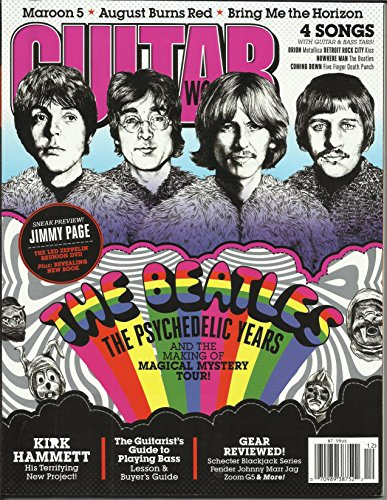Guitar World Magazine December 2012 The Beatles the Psychedelic Years and the Making of Magical Mystery Tour, 4 Songs with Guitar & Bass Tabs: Orion Metallica, Detroit Rock City Kiss, Nowhere Man The Beatles and More