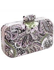 BMC Mix Floral Patterned Hard Case Detachable Chain Party Fashion Clutch Handbag