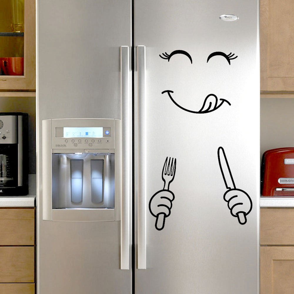 YOMXL Cute Fridge Wall Stickers Happy Smile Face Kitchen Refrigerator Art DIY Wall Decal Delicious Face Dining Room Wall Door Decorations