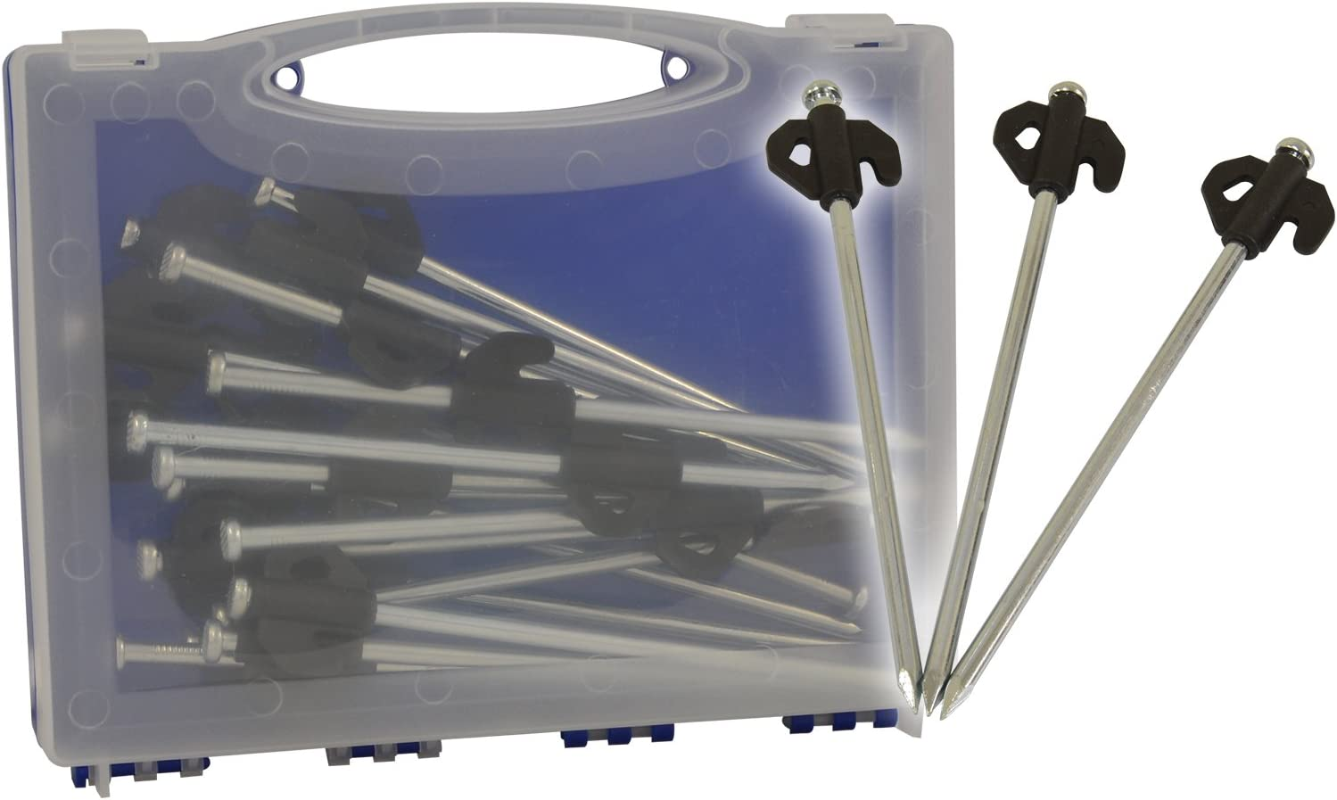 Piquets de tente pour sol dur Store Protection Soleil Couvert en Plastique Carry Case Pack de 20
