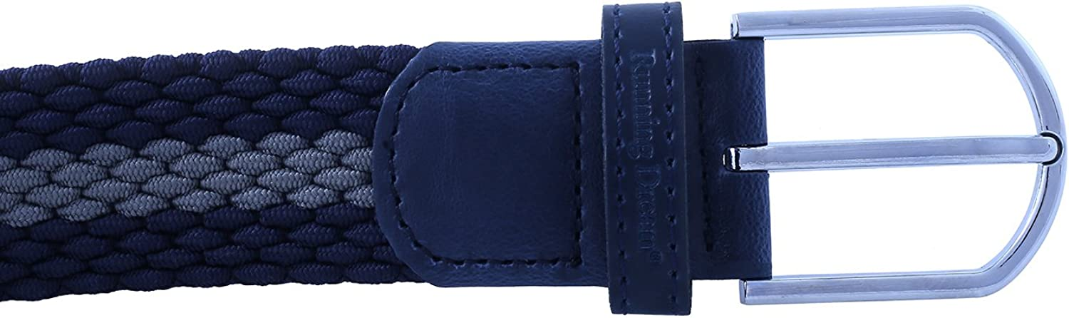 M - Fits waist sizes 29-36, Blue+Gray Running Dream Elastic Stretch Belt for Man and Women Multi-Color Options