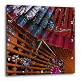 3dRose Danita Delimont - Patterns - Spain, Andalusia. Granada. Hand painted personal fans. - 15x15 Wall Clock (dpp_277889_3)