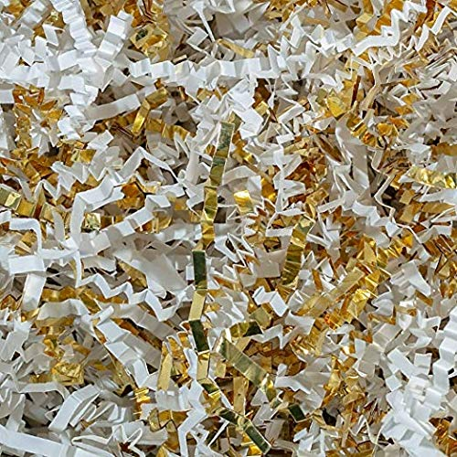 10 lb Crinkle Cut Paper Shreds Eco-Spring Fill, Filler for Packing Gift Baskets and Boxes~Box of 10 LB ~ Gold & White Metallic- Good Value Natural Paper Shred Filler (Wrap Spring Gift)