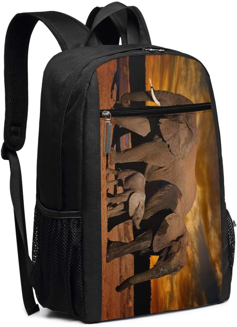 Sunset African Elephant Backpack Large Laptop Travel Business Backpack Casual School Computer Bookbag 17 Inch