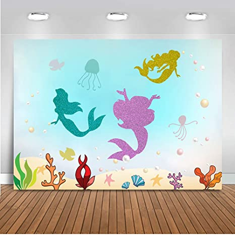 Mehofoto - Fondo de fotos con diseño de sirena de 7 x 1,5 m