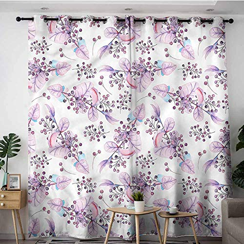 XXANS Thermal Insulating Blackout Curtains,Purple,Cute Rowan Berries Twigs,for Bedroom Grommet Drapes,W120x96L