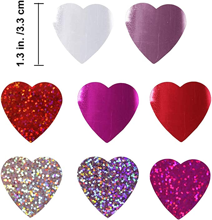 100 Wedding Party Table Scatter Cardstock Hearts Cut Outs .12 inch Die Cuts 250 Pieces Little White Glitter Heart Confetti: Lot of 12