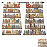 magnificent living room ladder bookshelf  Window Curtain Fabric Library Bookshelf with A Ladder School Education Campus Life Caricature Illustration Drapes for Living Room W72 x L96 Multicolor