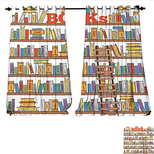 Window Curtain Fabric Library Bookshelf with A Ladder School Education Campus Life Caricature Illustration Drapes for Living Room W72 x L96 Multicolor