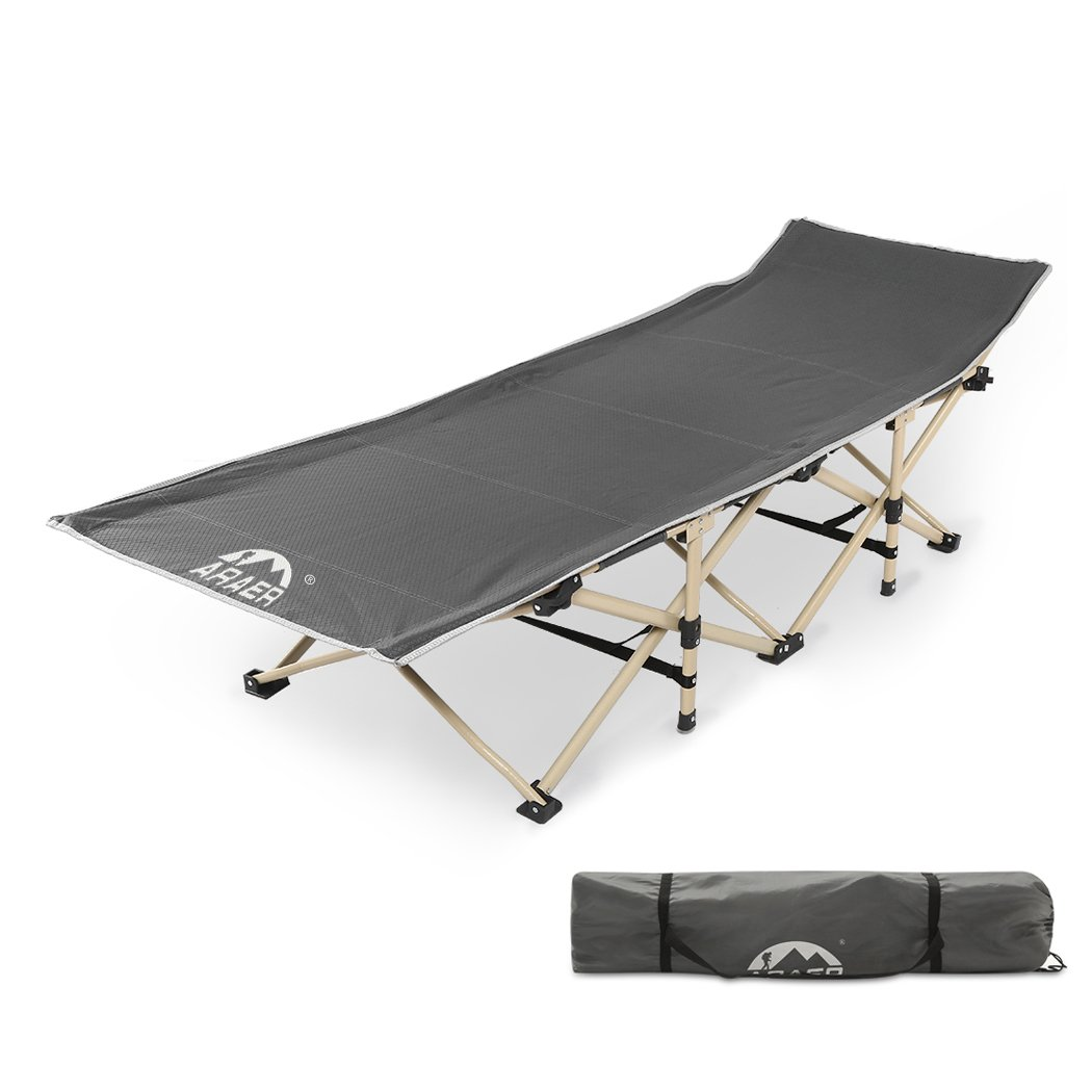 ARAER Camping Cot, 450LBS(Max Load), Portable Folding Cot with Carry Bag for Adults Kids, Heavy Duty Cot For Traveling, Camping, Office Nap and Home Lounging
