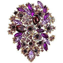 Crystal Vintage Style Flower Leaf Cluster Brooch