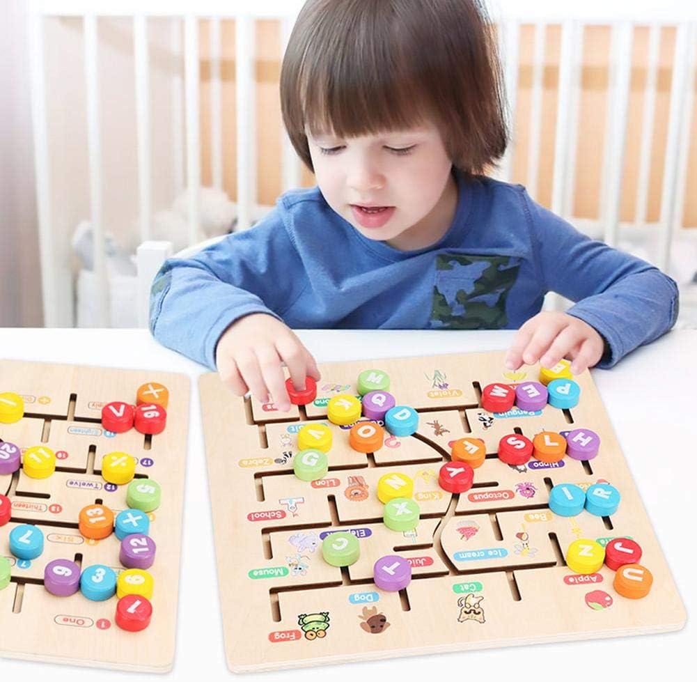 Wintesty Montessori Holz Puzzle Spielzeug ABC-Alphabet Zahlen Sortieren Labyrinth Klobig Von Hand bewegt Puzzleteil Kleinkinder Feinmotorik F/ähigkeiten Lernen Bildung efficient